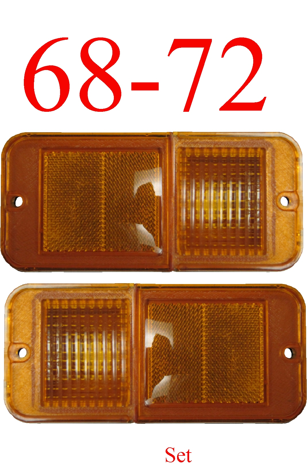 68-72 Chevy 2Pc Standard Amber Side Lights